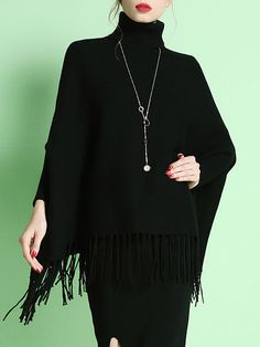 Black Casual Batwing Fringed Turtleneck Sweater