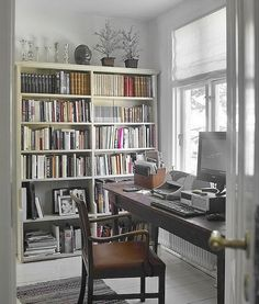 great home office. radiator warmth and sounds. windows to look out and dream. snow falling softly.