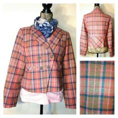 """NWOT Smart, short, stylish Sundance plaid blazer in soft pastels. Dresses up any pair of jeans, coordinates with cords, khakis, and pencil skirts. Approx measurements laid flat: U-U 20"""" across, waist 17.5"""" across. 70% wool, 30 % nylon, lining is 100 % acetate. Brand new condition! Too big on me, else I'd be wearing it a lot!!!"""
