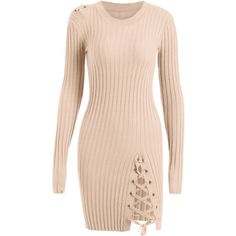 Knitted Lace Up Bodycon Mini Dress Yellowish Pink ($31) ❤ liked on Polyvore featuring dresses, body con dress, lace up sweater dress, laced dress, bodycon sweater dress and short dresses