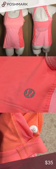 Lululemon Coral/Peach Workout Top In great condition lululemon athletica Tops Tank Tops