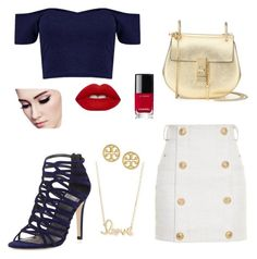 """Untitled #111"" by mariapangal on Polyvore featuring Balmain, Stuart Weitzman, Chloé, Sydney Evan, Tory Burch, Lime Crime and Chanel"