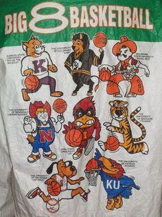 Vintage Big 8 Basketball Phillips 66 Tyvek Windbreaker KU Jayhawks Mascot Jacket Size XL 44-46