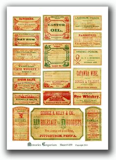 Antique Medicine Labels Drug Store Old Druggist Pharmacy Drugstore Spooky Poison Vintage Labels Apothecary Shabby Chic Props Halloween 459