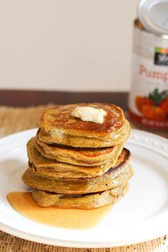 Pumpkin banana oat blender pancakes   Make with .5 banana, 1/4 c pumpkin, .5 c oatmeal, and 2 egg whites