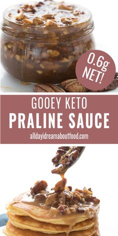 So Gooey And Delicious, This Keto Praline Sauce Is Pure Heaven Over Pancakes Or Ice Cream. It Also Makes A Great Low Carb Cheesecake Topping. In any case, You Might Find That You Just Want To Spoon It Straight Into Your Mouth Best Low Carb Recipes, Pecan Recipes, Dessert Recipes, Dinner Recipes, Keto Recipes, Dessert Ideas, Soup Recipes, Low Sugar Recipes, No Sugar Foods