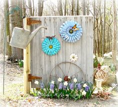 I wanna use my old barn door on the screen wall that will hide my compost bins. Cool idea here