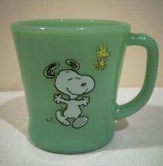 Vintage Snoopy Jadeite Coffee Mug