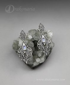 """Sindarin - Narn"" earrings by Anna Mazon - Drakonaria. Silver and blue moonstones. Earrings inspired by J.R.R. Tolkien's elven language Sindarin. www.drakonaria.com https://www.etsy.com/shop/drakonaria"