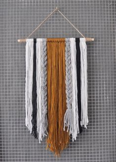 Modern Yarn Wall Hanging 2019 A modern spin on yarn that is bound to be a conversation piece. Each item is The post Modern Yarn Wall Hanging 2019 appeared first on Yarn ideas. Yarn Wall Art, Yarn Wall Hanging, Diy Wall Art, Diy Wall Decor, Diy Art, Wall Hangings, Art Yarn, Diy Crochet Wall Hanging, Stick Wall Art