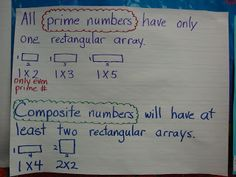 prime and composite numbers Anchor Charts Grade 6 Math, Teaching 5th Grade, Fourth Grade Math, Teaching Tips, Teaching Math, Third Grade, Prime And Composite Numbers, Prime Numbers, Number Anchor Charts