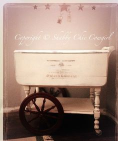 She used chalk paint to cover the vintage tea cart, a beautiful typography graphic on the front, then she distressed the cart and finished it with dark wax.
