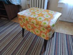 Hey, I found this really awesome Etsy listing at http://www.etsy.com/listing/113653535/vintage-daisy-sewing-stool-storage