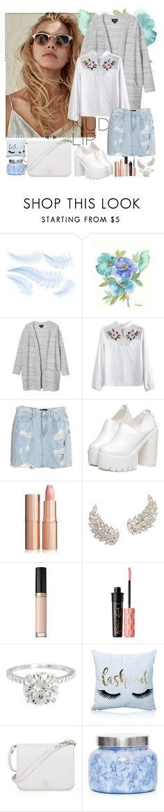 """-  ice cream with taste of spring"" by a-shaykhina ❤ liked on Polyvore featuring Monki, Chicnova Fashion, Too Faced Cosmetics, Benefit, Furla and Capri Blue"