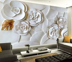 Wallpaper Bedroom Mural Roll Modern Luxury Embossed flowers Background for sale online Modern Minimalist Living Room, Living Room Modern, Living Room Sofa, Living Room Decor, Bedroom Modern, Home Living Room Wallpaper, Wall Wallpaper, Photo Wallpaper, Embossed Wallpaper