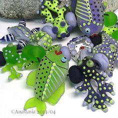 "ANASTASIA--lampwork beads--(11)--""RETRO REEF""--SRA"