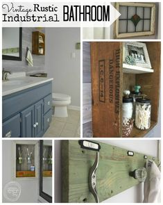 """Transform your bathroom on a major budget. The updates in this room cost $200 and include a shiplap wall, """"new"""" counter top and rustic, vintage accessories."""