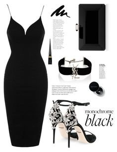"""Mission Monochrome: All-Black Outfit"" by afef-ktari ❤ liked on Polyvore featuring Rare London, Dolce&Gabbana, Judith Leiber, Yves Saint Laurent, Christian Louboutin and allblackoutfit"
