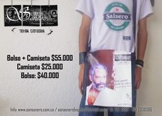 Foto: Combo Salsero - Camiseta + Bolso Album, Signs, Mens Tops, T Shirt, Feelings, Store, T Shirts, Accessories, Pictures