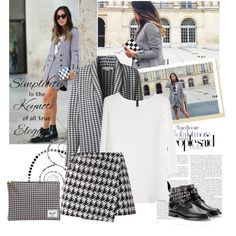 """Houndstooth blazer and skirt during pfw"" by sarapires on Polyvore"