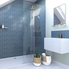navy Bathroom Decor Showerwall Custom Navy Herringbone acrylic shower wall panel 1200 x 2440 Bathroom Wall Panels, Shower Wall Panels, Loft Bathroom, Upstairs Bathrooms, Modern Bathroom, Blue Bathroom Tiles, Master Bathroom, Bathroom Showers, Blue Tiles