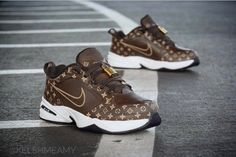 The Nike Air Monarch Louis Vuitton Custom Is The Ultimate Hypebeast Dad Shoe Lv Shoes, Cute Shoes, Me Too Shoes, Shoe Boots, Nike Huarache, Zapatillas Nike Jordan, Botas Louis Vuitton, Louis Vuitton Sneakers, Nike Slides
