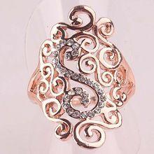 Mujeres con encanto de partido ahueca hacia fuera el cristal de la joyería 18 k chapado en oro rosa anillos tamaño 7.5 8.5(China (Mainland))