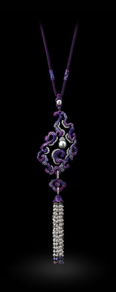 Necklace by Carnet - Ruby, diamond, amethysts, sapphires and pearl set in platinum, 18k white gold and titanium