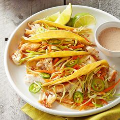 Toss together these delicious Fish Tacos with Lime Sauce...serve as salad..no shells