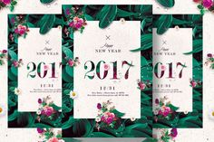 Classy New Year - Floral Invitation by Creative Flyers on @creativemarket