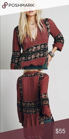 FREE PEOPLE BORDER COLLAR PRINTED TUNIC Like new condition! Free People Tops Tunics