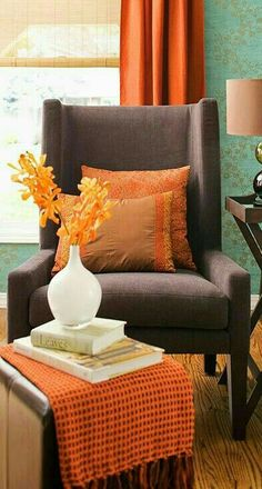 Fashion,Beauty,Landscape,Home Designe,Sexy Girls. Orange Home Decor, Fall Home Decor, Autumn Home, Orange House, Better Homes And Gardens, Wingback Chair, House Colors, Floor Chair, Love Seat