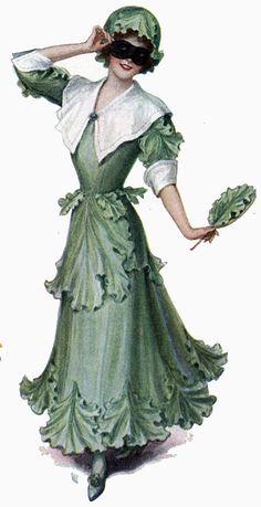 Lettuce Girl Costume - illust. M.E. Musselman 1911 Ladies Home Journal