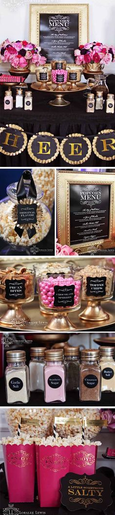 Loralee Lewis Oscars Party Inspiration, Popcorn Bar, - Home Page Buffet Dessert, Candy Buffet, Dessert Tables, Gold Dessert, Buffet Set, Popcorn Bar, Popcorn Station, Candy Popcorn, 50th Birthday