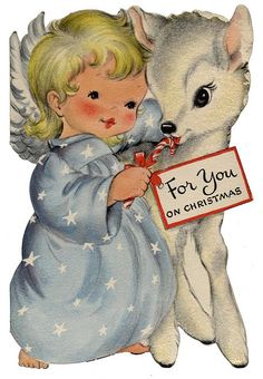 """For You"" card. Angel and deer"
