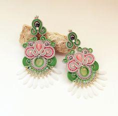 Soutache dangle earrings. Extra long soutache by Soutachebypanka