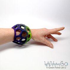 Textile Cuff Bracelet No. 35 Purple Lime Wet Felt with Merino Wool Silk Mohair