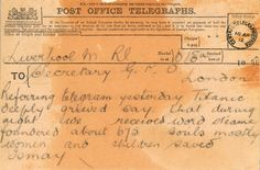 The third telegram about the sinking of the Titantic from Mr. Ismay, chairman of White Star