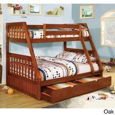 Furniture of America Perthe Mission Style Twin over Full Bunk Bed Oak - Walmart.com