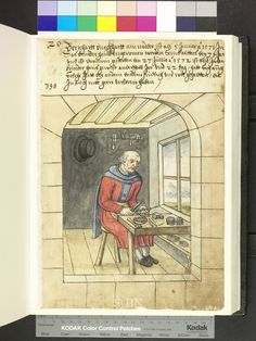 """Amb. 317b.2° Folio 28 recto """"the brother sits at his work table and worked with a rasp, a needle, which he holds with the tongs. ready are a hammer, a small anvil, three needles hallmark and finished. in the background on the wall stuck in the holder a more rasp, two hallmark, a hammer and a small anvil."""""""