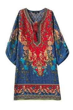 For bohemian style lovers…this is for you!!! This long sleeve beach dress with a…