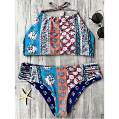 Patchwork Print High Neck Bikini Set ($13) ❤ liked on Polyvore featuring swimwear, bikinis, floral two piece, high-neck bikinis, flower print bikini, bikini two piece and floral print swimwear