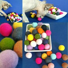 8e597bb65ef READY to SHIP  6 Pk-SMALL Felted Bouncy Ball Cat Toy   Your Choice   With Without Organic Catnip   Toy Natural Wool Pom Pom