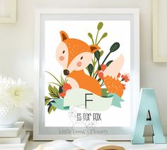 Nursery wall art print Printable fox Wall art Decor fox illustration nursery decoration  nursery quotes fox print woodland print 104a
