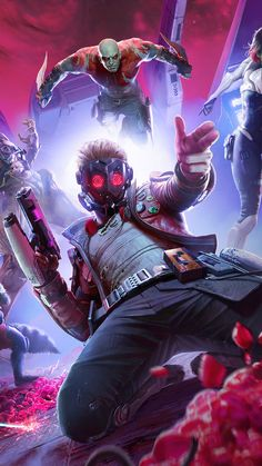 Marvel's Guardians of The Galaxy Game Poster 4K Ultra HD Mobile Wallpaper. Trending Hashtags Today, Star Lord, Guardians Of The Galaxy, Marvel Movies, Mobile Wallpaper, Harley Quinn, Iron Man, Portrait Photography, Hero