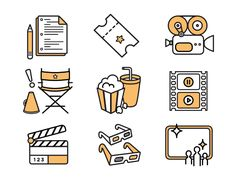 Dribbble - Movie Icons for IFF by Elizabeth Goodspeed Flat Design Icons, Icon Design, Ppt Design, Film Icon, Tattoos Skull, Illustration, Iconic Movies, Cute Icons, Line Design