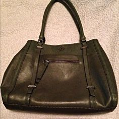 """Classy Olive Green Leather Handbag Large This bag is beautiful and like new. I only used it a little while. It is leather. Has many pockets and compartments. The pic is picking up a purple color for the lining it is actually more of a gray. Very clean no stains rips or tears. It is 15"""" wide and 9"""" long with a 9"""" drop from strap to opening. Vera Wang Bags Shoulder Bags"""