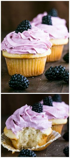 Super fluffy yogurt cupcakes with a heavenly (and easy) blackberry frosting! @NatashasKitchen