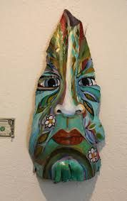 "Palm Tree Bark Paintings -- ""Island Tiki Mask"" Painted by Gjen Mallory Palm Tree Crafts, Palm Tree Art, Palm Trees, Palm Frond Art, Palm Fronds, Painted Island, Tiki Faces, Mask Painting, Tiki Mask"
