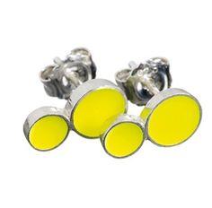 SCHERNING porcelænssmykker - COLOURING, dobbelt ørestikkere, neon gul